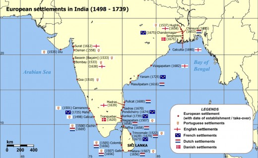 French and other European settlements in India : the French, British, Portuguese, Dutch, and Danes were present.