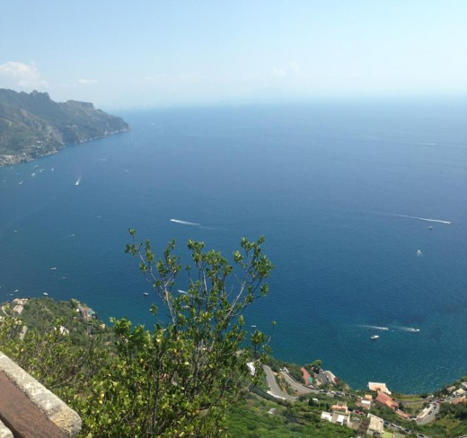 The view looking out over Amalfi and the sea