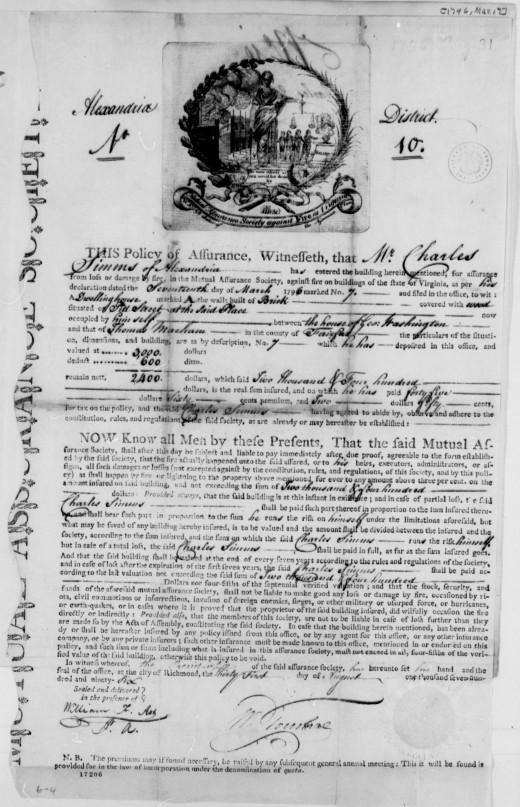 Earliest existing fire insurance policy document