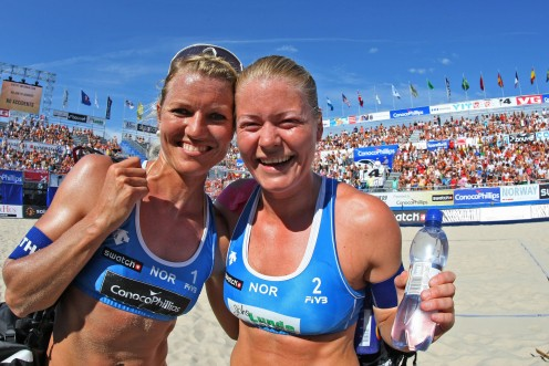 Norway's Janne Kongshavn (right) celebrates with Katherine Maaseide (left). Doesn't it feel good to win?