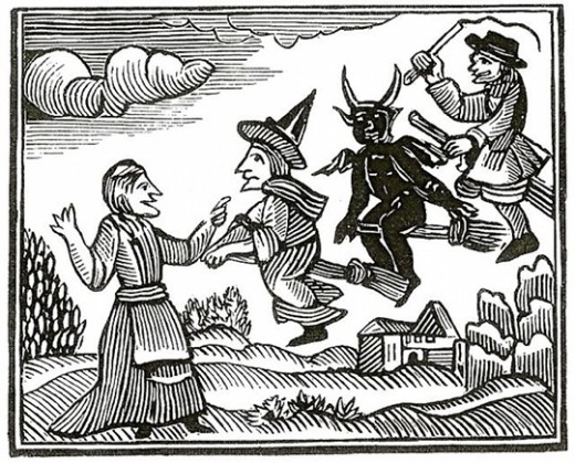 A drawing from Mathers' Wonders of the Invisible World depicting witches flying with the Devil on broomsticks.