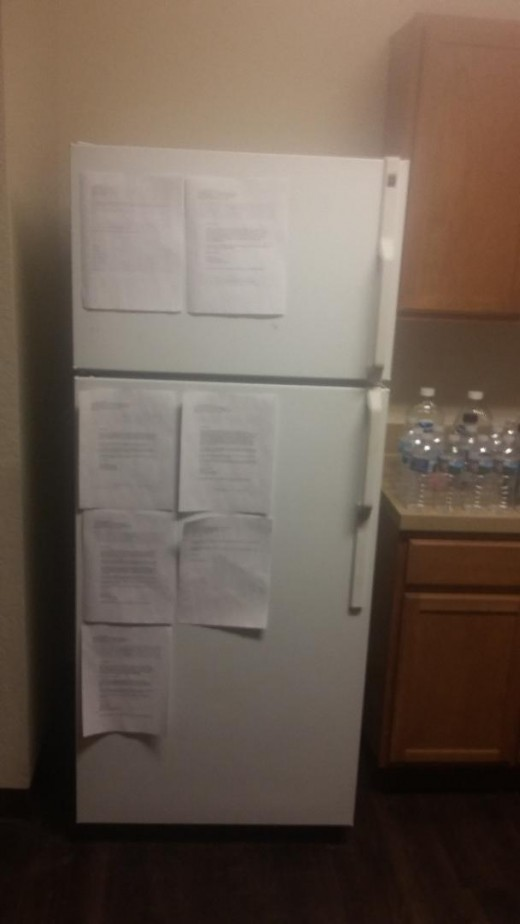 My refrigerator where I save all of my greatest rejection notes