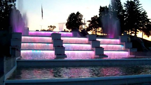 The Cascades at dusk with pink lights
