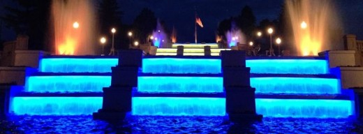 The Cascades bathed in blue light in full darkness