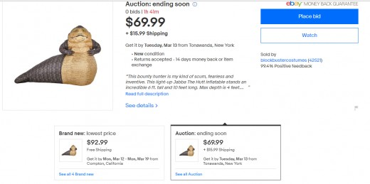 Screenshot of listings page on eBay for an inflatable Jabba The Hutt yard decoration.