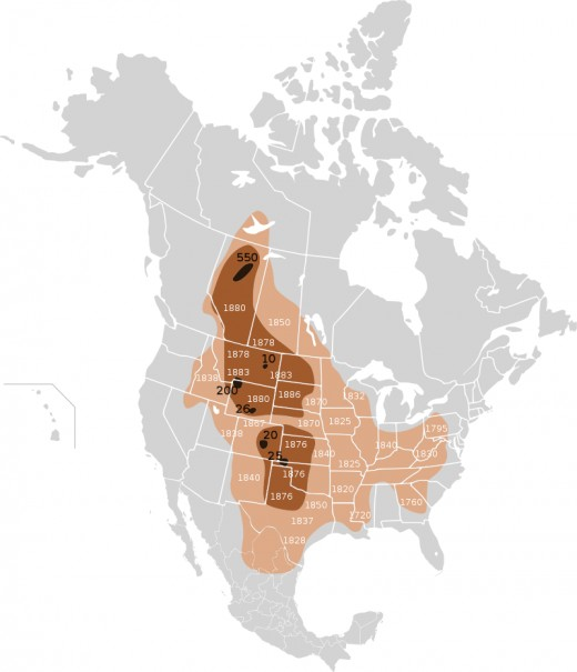 Extermination of bison 1889 ** Light Brown, Original Range  **Mid-Brown, Range as of 1870  **Dark Brown Range as of 1889 ** Light numbers give date of local extermination.**dark numbers indicate number of remaining bison as of January 1st 1889