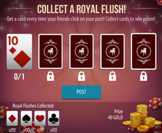 The screen to collect a Royal Flush with help from friends.