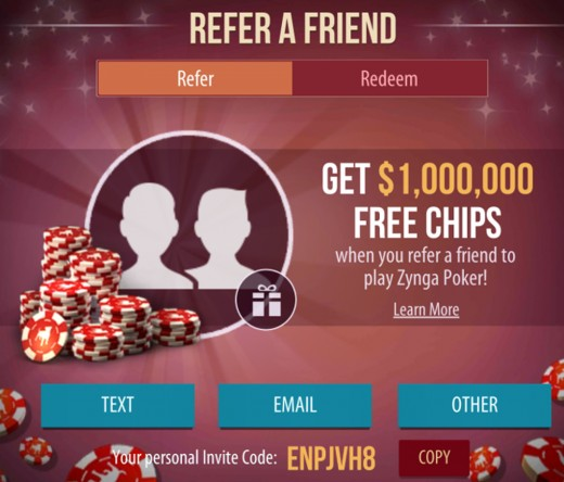 How to refer friends for extra chips.