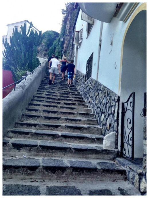 These are the steps we had to take to and from our room to get to the town below and the beach. 638 steps in total!