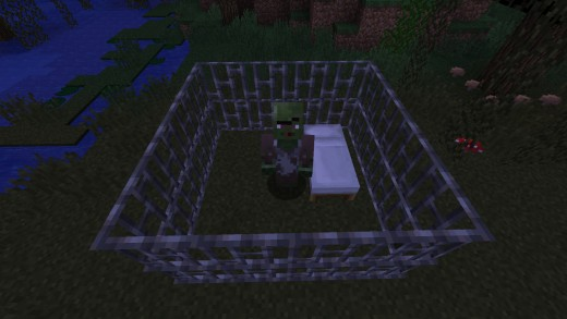 "Trapping a zombie villager in an ""iron bar prison"" is said to speed the curing process."