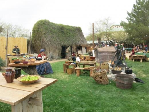 Renaissance Era Irish tenant cottage.   (Display provided by Croft Celtic Reenactment Organization for Fellowship & Trades at Arizona Renaissance Festival in Phoenix, AZ )