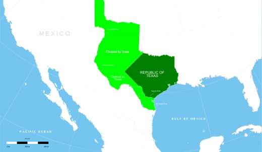 Map of the Republic of Texas 1836.