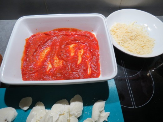 the tomato sauce, sliced mozzarella and grated parmesan cheese for the first layer.