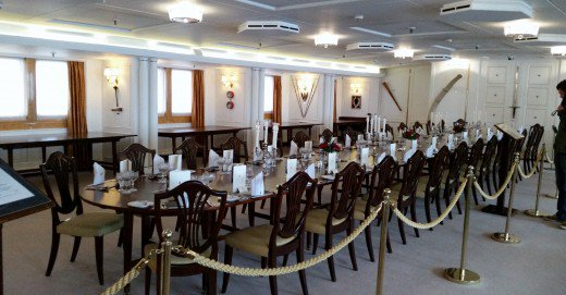 The State Dining Room on the Royal Yacht Britannia