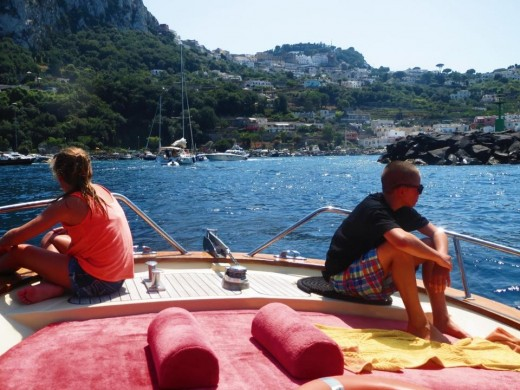 We hired a captain to take us to Capri Island for the day. What an adventure!