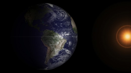 The sun is directly over the equator at the arrival of the vernal and autumnal equinoxes.