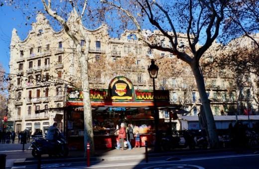 Christmas Market in Front of Erik Vokel Gran Via Barcelona