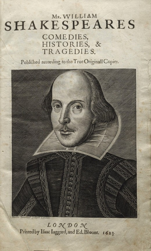 The title page of the w:First Folio of William Shakespeare's plays Datte:1623