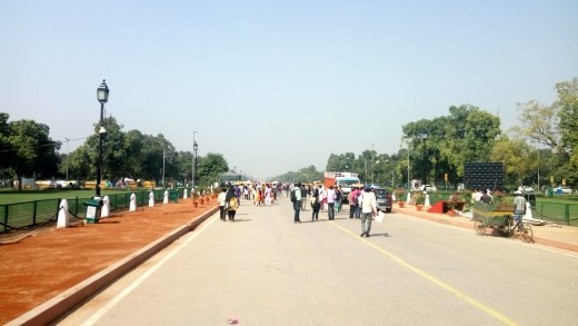 People strolling around the India Gate area, New Delhi