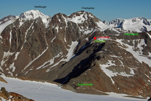 Between Tisenjoch and Hauslabjoch Pass (place of discovery of Ötzi)