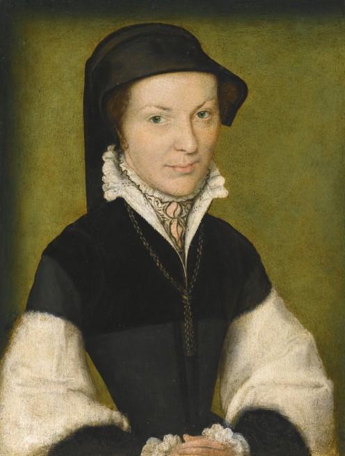 Corneille de Lyon ~ Portrait of a Lady, said to be Marie de Batarny circa 1560  oil on panel