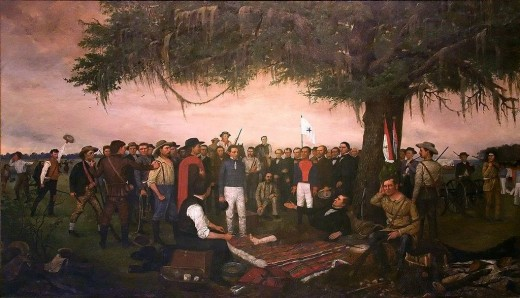 """Surrender of Santa Anna"" by William Henry Huddle."
