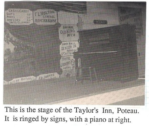 Taylor's In in Poteau, often frequented by Bob Wills and the Texas Playboys, Glenn Miller, and Count Basie