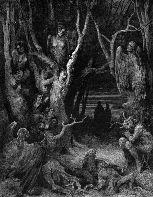 Dante's Inferno Canto 13: Harpies in the Forest of the Suicides by Gustave Doré