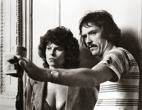 """Barbeau, seen here with her former husband John Carpenter, is a veteran horror actress who still can't lift this film beyond """"bargain bucket trash""""."""
