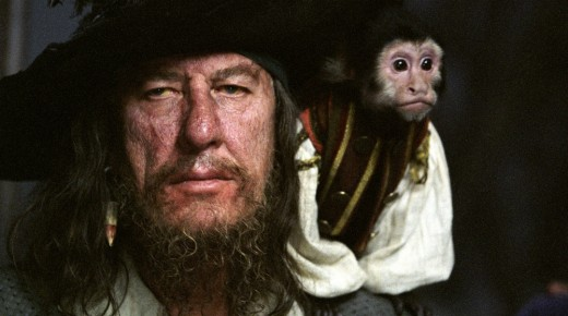 Rush embodies the film's sense of fun as the villainous Barbossa
