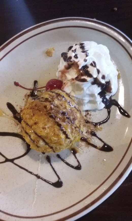 Delicious fried ice cream, presented nicely at La Bamba Mexican Restaurant in Greensboro, North Carolina