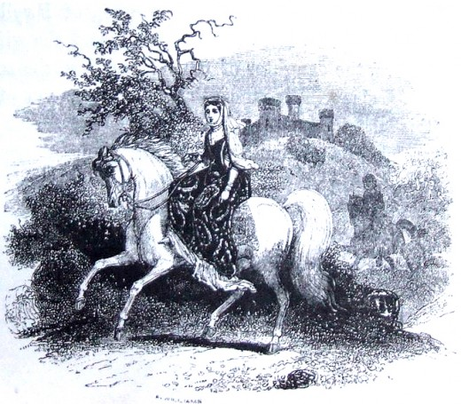 An old drawing of Rhiannon on a white horse.