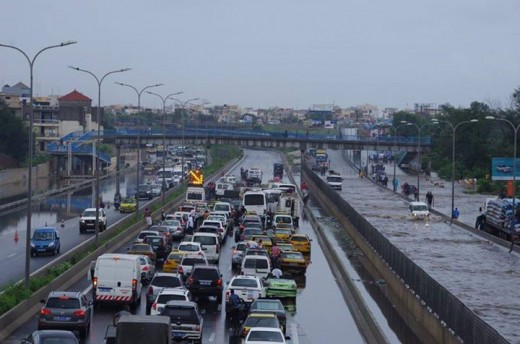 One of Dakar's pedestrian bridges during the rainy season.