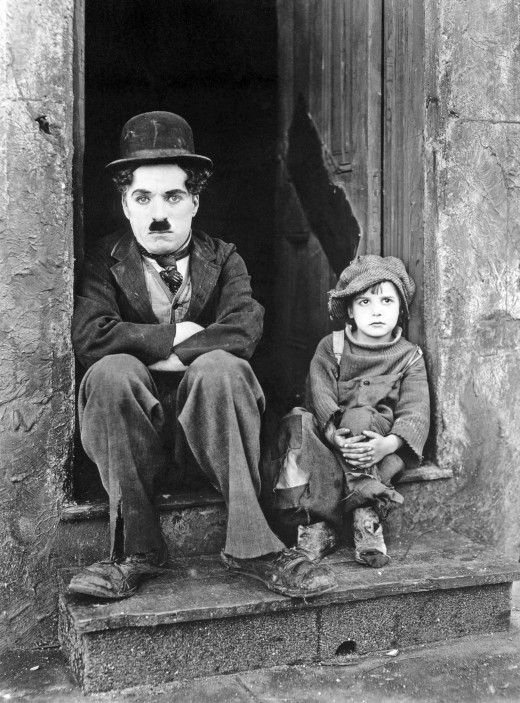 Charlie Chaplin and Jackie Coogan in the film The Kid
