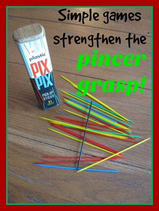 Kids today need to move away from the screens and play games that strengthen their hand muscles. Pick-up Sticks is a fun and easy one!