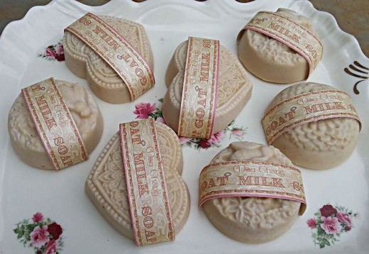 Goat milk soap with labels that use a border and fancy font