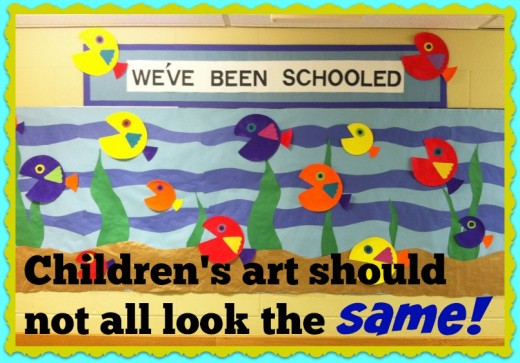 Parents and principals are easily impressed by these neat and tidy bulletin boards that brighten the hallways. But the art looks the same and sparks little imagination and initiative.