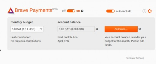 The Basic Attention Token wallet page on Brave.