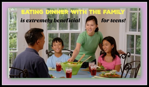 There are many benefits to eating dinner together. It's a good time for teens to relax, de-stress, open up, and share their thoughts.