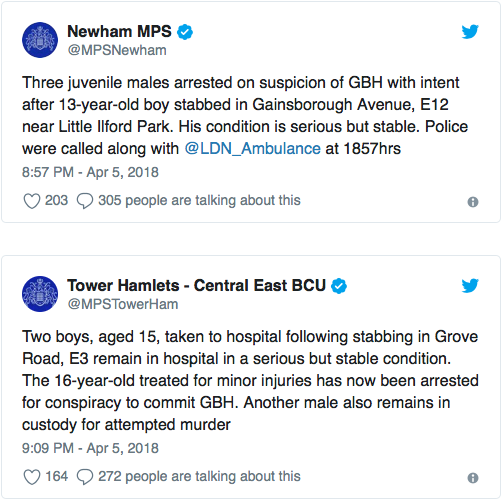 Newham Police and Tower Hamlets Police posted the following Twitter updates surrounding the stabbings