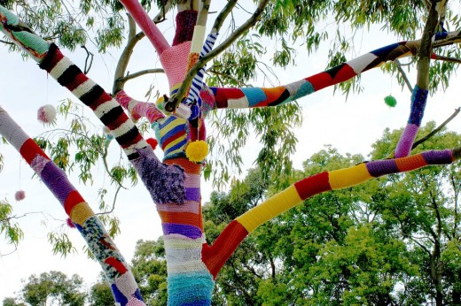 A beautiful tree decorated with colorful yarn