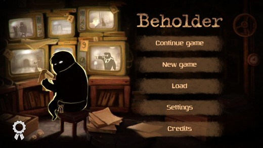 The Beholder start screen