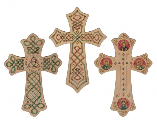 Crosses with colorful designs make good gifts.
