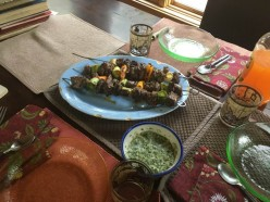 Raspberry Marinated Grilled Lamb Skewers in a Mint Sauce Recipe