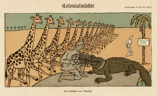 German colonialism in Africa as portrayed by the Germans ; orderly, rigid, and with the interests of the native people at heart. It actually launched several genocides or near-genocides...