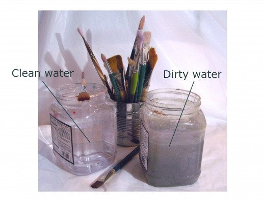 Change the water often or have two containers: a cleaner one to use to wet the brushes while painting, and one for rinsing paint off the  brushes.