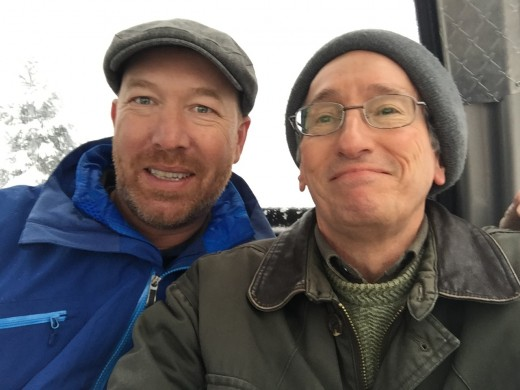 Paul Edmondson and Glenn Stok in the Whistler Mountain gondola.