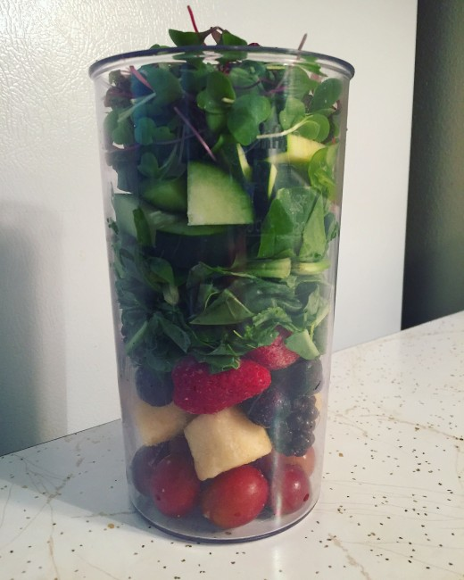 I make sure that at least half, if not more of my smoothie is made up of green vegetables!