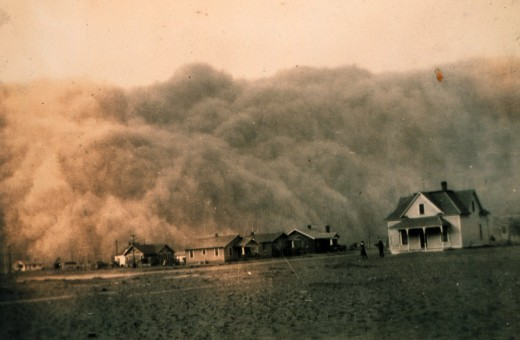 Dust Bowl era storm in Texas, circa 1935.