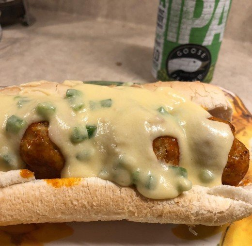 Meatball Sub with Jalepeno Cheese Sauce.